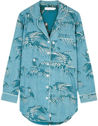Desmond & Dempsey Bocas printed cotton pyjama shirt dress