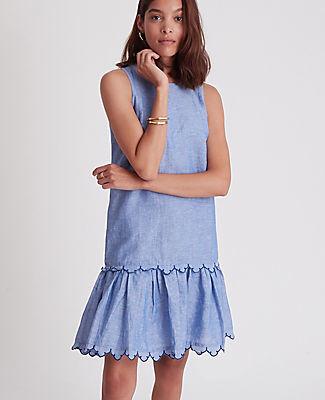 Ann Taylor Petite Chambray Flounce Shift Dress