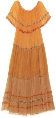 Alberta Ferretti Off Shoulder Embroidery Dress