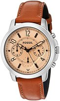 Fossil Women's Quartz Stainless Steel and Leather Automatic Watch, Color:Brown (Model: ES4039)