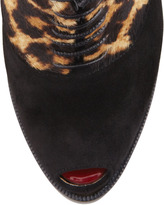 Christian Louboutin Miss Poppins Lace-Up Platform Bootie, Black/Leopard Print