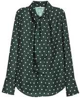H&M Bow Blouse - Dark green/dotted - Ladies