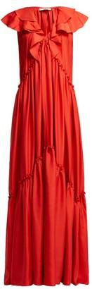 Three Graces London Wilhelmina Ruffle Silk Maxi Dress - Red