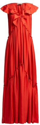 Three Graces London Wilhelmina Ruffle Silk Maxi Dress - Womens - Red