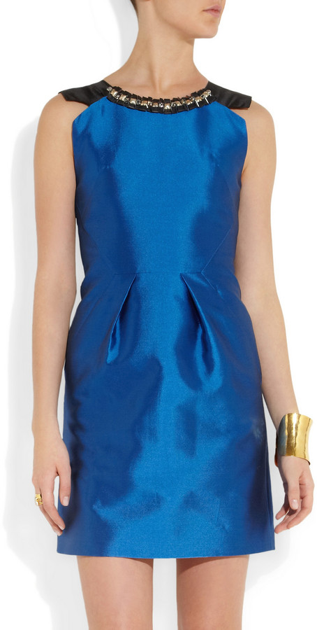 Matthew Williamson Crystal-embellished cotton and silk-blend dress
