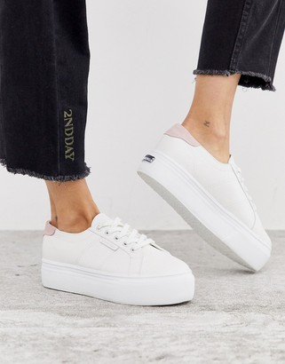 Superga 2790 white leather 4cm trainers with ash rose back tab