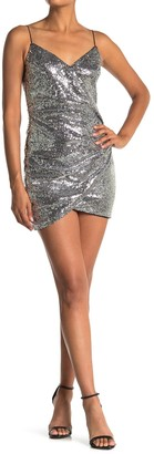 Lush Sequin Faux Wrap Mini Dress