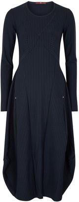 High Solitary Pinstriped Stretch-jersey Midi Dress