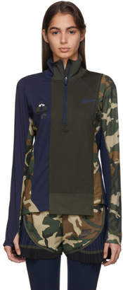 Nike Green and Navy Sacai Edition NRG Half-Zip Running Jacket