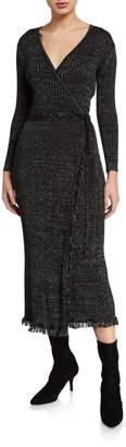 Diane von Furstenberg Bobbi Ribbed Metallic Wrap Dress