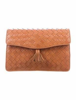 Bottega Veneta Vintage Intrecciato Leather Clutch Brown
