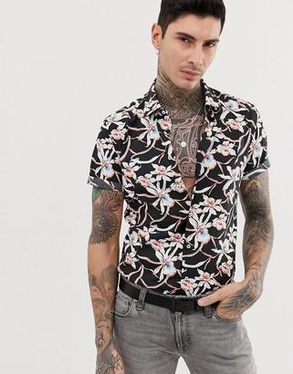Devils Advocate slim fit cotton short sleeve print short sleeve shirt-Black