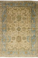 """Ecarpetgallery Hand-knotted Royal Ushak Open Field 6'0"""" x 9'3"""" Ivory 100% Wool area rug"""