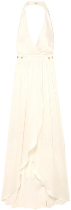 Balmain Button-detailed Plisse Silk-crepe Gown