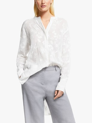 Modern Rarity Floral Embroidered Tunic Top, White