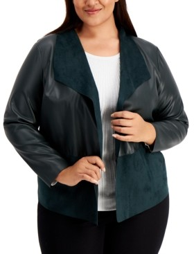 Alfani Plus Size Mixed-Media Jacket, Created for Macy's