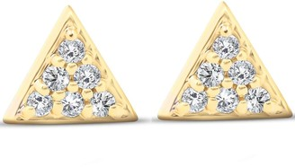 Pompeii3 14k Yellow Gold Triangle Pave .12Ct Diamond Delicate Spike Studs Womens Earrings