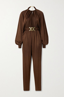 Dodo Bar Or Mika Belted Draped Stretch-satin Jersey Jumpsuit - Chocolate