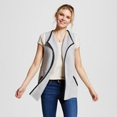 August Moon Women's Ribbed Chunky Sweater Vest with Pleather Trim Gray S