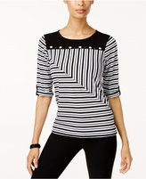Alfred Dunner Saratoga Springs Spliced Striped Top