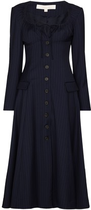 By Any Other Name Pinstripe-Patternlong-Sleeve Midi Dress