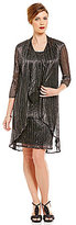 R & M Richards Metallic Crinkle Jacket Dress