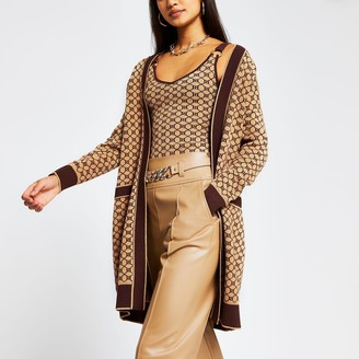 River Island Womens Brown RI monogram print long sleeve cardigan