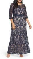 Sangria Plus Size Women's A-Line Lace Gown