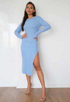 Missguided Blue Rib Knit Crew Neck Midaxi Dress