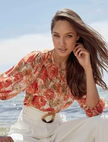 Forever New Leona Puff Sleeve Blouse - Coral Sunrise Floral - 10