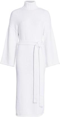 STAUD Chalet Turtleneck Tie-Waist Midi Sweater Dress