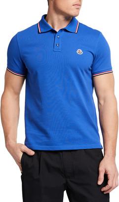 Moncler Men's Tipped Cotton Pique Polo Shirt