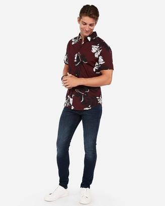 Express Slim Hawaiian Print Button-Down Short Sleeve Shirt