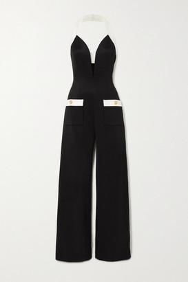 Balmain Two-tone Stretch-jersey Halterneck Jumpsuit - Black