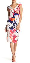 Just For Wraps Abstract Ruffle Sheath Dress