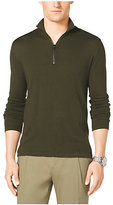 Michael Kors Suede-Panel Half-Zip Sweater