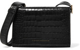 Victoria Beckham Mini Croc-effect Leather Shoulder Bag - Black