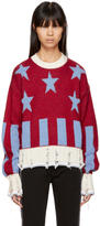 MSGM Red Short Stars and Stripes Sweater