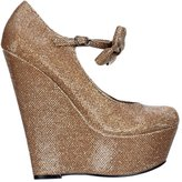 Onlineshoe Ladies Womens Mary Jane High Wedge Platform Bow Shoes - Dark Nude, Gold, Silver Purple Glitter