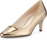 Cole Haan Lena II Patent Low-Heel Pump, Gold Metallic