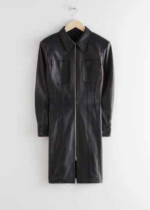 And other stories Leather Mini Shirt Dress
