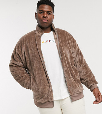 ASOS DESIGN Plus oversized teddy fleece track jacket in mid brown