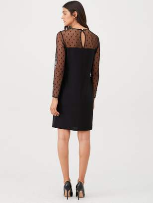 Wallis Spot Mesh Insert Dress - Black