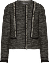 Vince Fringe and leather-trimmed tweed jacket