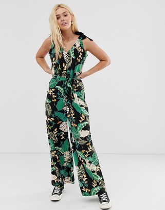 Only tie shoulder tropical jumpsuit