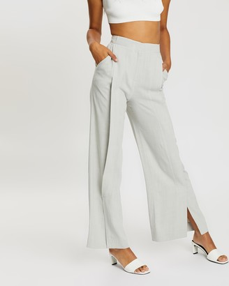 Topshop Slouch Linen-Blend Trousers