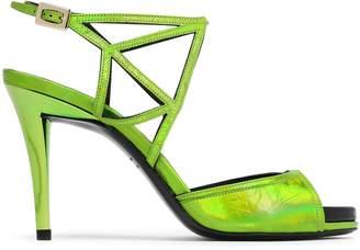Roger Vivier Cutout Metallic Leather Sandals