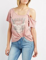 Charlotte Russe Graphic Asymmetrical Cut-Out Tee
