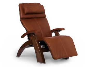 Human Touch Power Glider Recliner Finish: Walnut, Fabric: Cognac, Leather Type: Premium Leather