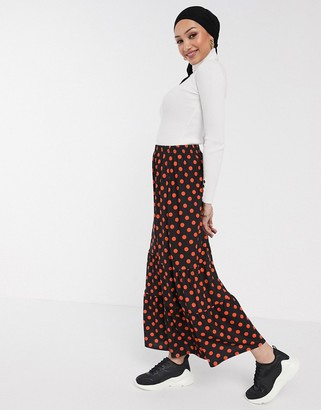 ASOS DESIGN tiered maxi skirt in red and black polka dot